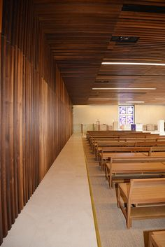 Warm slatted timber interior for Army Memorial Chapel.  Photo©JadaArt