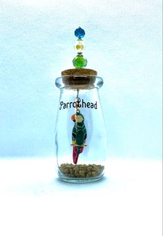 Custom parrothead bottle Custom Bottles, Apothecary Bottles, Customized Gifts, Snow Globes, Buffet, Christmas Ornaments, Holiday Decor, Personalized Gifts, Christmas Jewelry