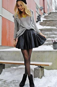 leisure skirt ROMWE High Waist Black Vinyl Skirt