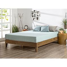 Amazon.com: Zinus 12 Inch Wood Platform Bed / No Boxspring Needed / Wood Slat Support / Rustic Pine Finish, Queen: Home & Kitchen