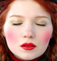 Dolly Clown Makeup, Pink Blush, Red Lips, Golden Shade, Cute Ginger Freckles <3