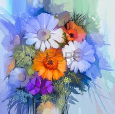 modern life: Still life of yellow, red and pink color flower. Oil Painting - Colorful Bouquet of daisy and gerbera flowers. Hand Paint floral Impressionist style. Stock Photo
