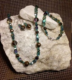 Crystal bead necklace bracelet and earring set by BerlyDesigns