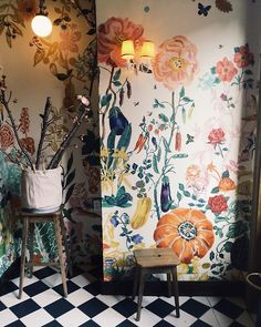⋴⍕ Boho Decor Bliss ⍕⋼ bright gypsy color & hippie bohemian mixed pattern home decorating ideas - Floral wallpaper mural & B&W harlequin floor (Bakeri, Greenpoint. photo by Jen Causey)