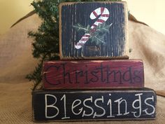 Primitive Candycane Holly Christmas Blessings 3 pc Shelf Sitter Wood Block Set #PrimtiveCountry