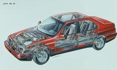 - LE ALFA AI RAGGI X Alfa 164, Alfa Alfa, Alfa Cars, Cutaway, Maserati, Ferrari, Chevy Chevrolet, Car Drawings, Motor Car