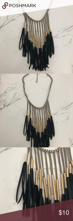 Bebe fringe necklace Bebe statement fringe necklace. bebe Jewelry Necklaces
