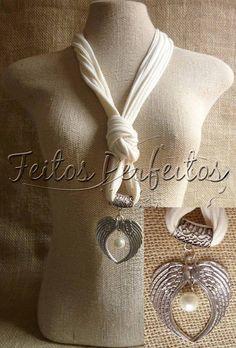 Colares de tecido com pingentes