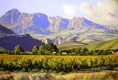 Oil Painting - Autumn Vineyard Ladismith Cape by Ted Hoefsloot African Artwork, African Paintings, Landscape Art, Landscape Paintings, Landscapes, South African Artists, Art Portfolio, Vineyard, Scenery
