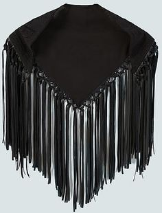 Womens black fringes embroidered scarf from Mango - £29.99 at ClothingByColour.com