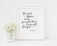Pride and Prejudice Quote | Jane Austen | You must know surely you | Romantic Literature Quote | INSTANT DOWNLOAD 8x10 Printable Digital Art by TheBookerie on Etsy https://www.etsy.com/uk/listing/468169731/pride-and-prejudice-quote-jane-austen