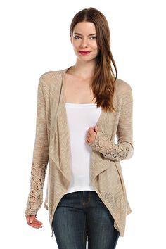 SHEER BURNOUT KNIT CASCADE CARDIGAN- Beige