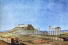 Acropolis, Athens Greece, Ancient Greek, Monument Valley, History, Nature, Travel, Painting, Vintage