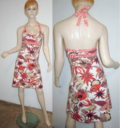 PATAGONIA Organic Cotton Floral Pine Cone Stretchy Halter Bra Shift Dress XS...http://stores.shop.ebay.com/vintagefluxed