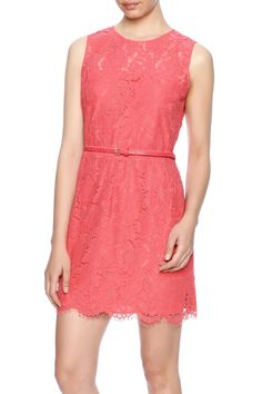 Sleeveless lace dress with hidden back zipper closure, matching thin belt and above knee length. Fully lined.    Coral Lace Dress by LUNA. Clothing - Dresses - Casual Clothing - Dresses - Lace Michigan