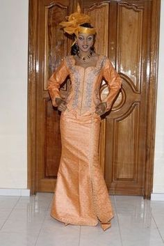 Peach brocade African women's ethnic attire with matching embroidery ~Latest African Fashion, African Prints, African fashion styles, African clothing, Malian style African Tops, African Dresses For Women, African Wear, African Attire, African Fashion Dresses, African Women, African Style, African Outfits, African American Fashion