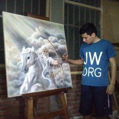 A Brother Making this Painting. Sierra Leone, Caleb Y Sophia, Jw Humor, Kingdom Hall, Spiritual Encouragement, Bible Truth, Jehovah's Witnesses, Happy People, Heavenly Father