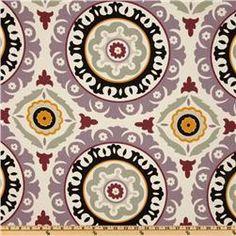 Fabrics - Waverly Solar Flair Onyx/Lilac - Discount Designer Fabric - Fabric.com - waverly, solar, flair, onyx, lilac, fabric