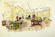 Colored presentation drawing by Parish-Hadley staff for The Ritz-Carlton, Boston. Signed Melwik. Watercolor on board.
