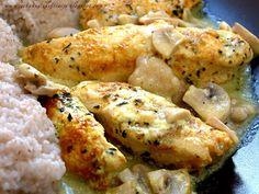Qchenne-Inspiracje! Odchudzanie, dietoterapia, leczenie dietą: Przepisy FIT: Delikatny, kruchy i soczysty filet z kurczaka w sosie pieczarkowym