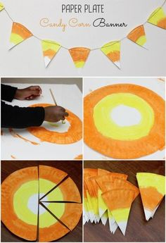 Paper Plate Candy Corn Banner and other easy kid friendly Halloween crafts. halloween crafts for kids Dulceros Halloween, Halloween Projects, Holidays Halloween, Halloween Themes, Easy Kid Halloween Crafts, Halloween Crafts For Preschoolers, Halloween Decorations For Kids, Kids Halloween Activities, Haloween Craft