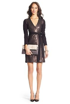 Leather Combo Wrap Dress In Black...LOVE