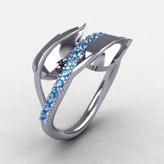 10K White Gold Blue Topaz Leaf and Vine Wedding by NaturesNouveau, $699.00