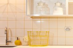 Laundry Shelves and white tiles with yellow grout. The Block NZ. Laundry In Bathroom, Laundry Rooms, The Block Nz, Laundry Shelves, Building A House, Build House, Laundry Design, White Tiles, Grout