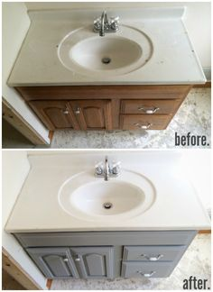 Painted Bathroom Vanity – Michigan House Update - but I would do it with a different chalk paint. Diy Bathroom, Bathroom Vanity Makeover, Updating House, Bathroom Makeover, Home Remodeling, Painting Bathroom, Home Diy, Painted Vanity Bathroom, Bathroom Redo