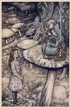 Arthur Rackham Alice in Wonderland The Rabbit Sends in a Little Bill painting is shipped worldwide,including stretched canvas and framed art.This Arthur Rackham Alice in Wonderland The Rabbit Sends in a Little Bill painting is available at custom size. Arthur Rackham, Art And Illustration, Book Illustrations, Lewis Carroll, Caterpillar Art, Advice From A Caterpillar, Alice In Wonderland Illustrations, Chesire Cat, Edmund Dulac