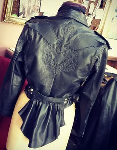 Cropped 1980s Vintage Leather MC Jacket with Detachable Bustle and Batty Brocade applique