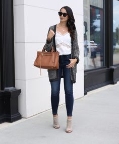 fashion blogger Anna Monteiro of blushing rose style wearing perfect fall cardigans and rebecaa minkoff regan satchel from nordstrom