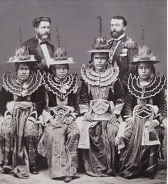 1871: the first Burmese embassy to the UK arrives in the hope of a peace treaty with Queen Victoria. Seated L-R:  Royal Secretary Naymyo Mindin Thurayn Maung Cheint; the Pangyet Wundauk Maha Minkyaw Raza Maung Shwe O, Chief Minister the Kinwun Mingyi (leading the embassy); the Pandee Wundauk Maha Minhla Kyawhtin Maung Shwe Pin (educated in Calcutta). Standing in back: Major A.R. McMahon, British Agent at Mandalay (I think) and Edmund Jones, Burmese Consul at Rangoon (both fluent in Burmese).