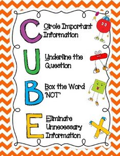 CUBE Math Problem Solving Strategy-strategy for reading word problems Math Strategies, Math Resources, Math Activities, Fun Math, Maths, Math Story Problems, Word Problems, Cubes Math, Third Grade Math