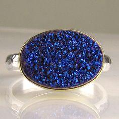 Drusy Ring - Cobalt Blue-Purple. $160.00, via Etsy.