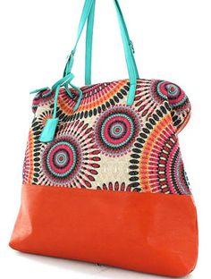 Coral & Turquoise Woven Fashion Handbag – Modeets