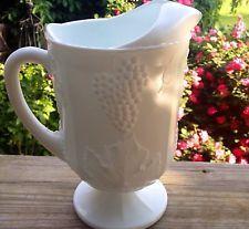VINTAGE WHITE MILKGLASS INDIANA GLASS GRAPE PITCHER
