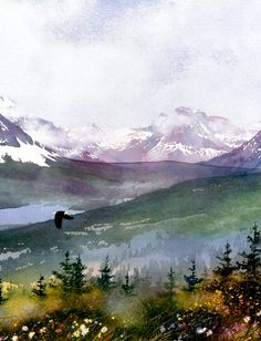 """""""Mountain Flight"""" at Glacier National Park, watercolor by Gary Spetz"""