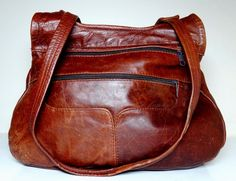 80's Vintage CUSTOM MADE Large Cinnamon-Brown Leather Handbag / Shoulder Bag #Unbranded #HandbagShoulderBag