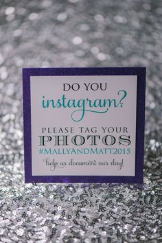 Awesome and unique custom Wedding Day Signs. Turquoise and Black with Purple Glitter Instagram sign by Just Invite Me