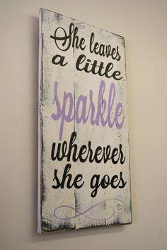 She Leaves A Little Sparkle Wherever She Goes Pallet Sign Girls Nursery Sign Lavender Nursery Decor Girls Bedroom Sign Baby Gift Shabby Chic...                                                                                                                                                                                 More