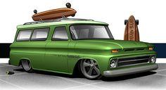 Chevrolet Parts, Chevrolet Trucks, Classic Chevy Trucks, Classic Cars, Cool Trucks, Cool Cars, Cool Car Drawings, Car Prints, Rat Fink