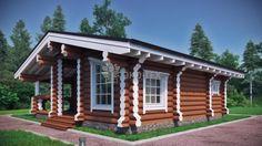 Гостевой домик - проект деревянного гостевого дома 8 х 7,5 площадью 60 м2 из оцилиндрованного или рубленного бревна