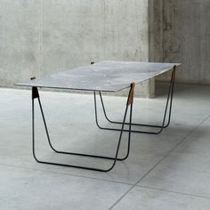 ben storms / in vein trestle table, leather marble steel