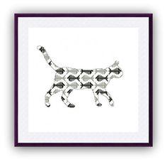 Cat Silhouette Cross Stitch Pattern Modern di CrossStitchForYou