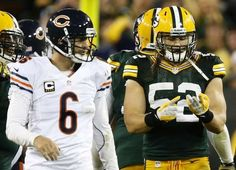 Clay Matthews counting his sacks while Cutler looks on