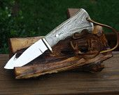 """Handmade Deer Stag Hunting / Skinning 8-3/4"""" Knife, Mirror Polished, Premium 440 Stainless Steel, Leather strap, Made in USA"""