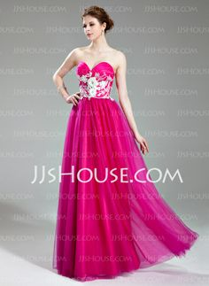 Prom Dresses - $159.99 - A-Line/Princess Sweetheart Floor-Length Tulle Prom Dress With Beading Appliques Flower(s)