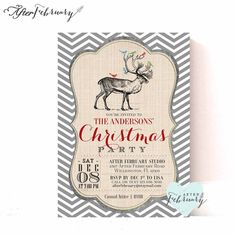 Printable Christmas Party Invitation  Reindeer by AfterFebruary