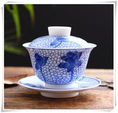 Ceramic Cup and Saucer, Chinese Tea Gaiwan, Handmade Porcelain Tureen